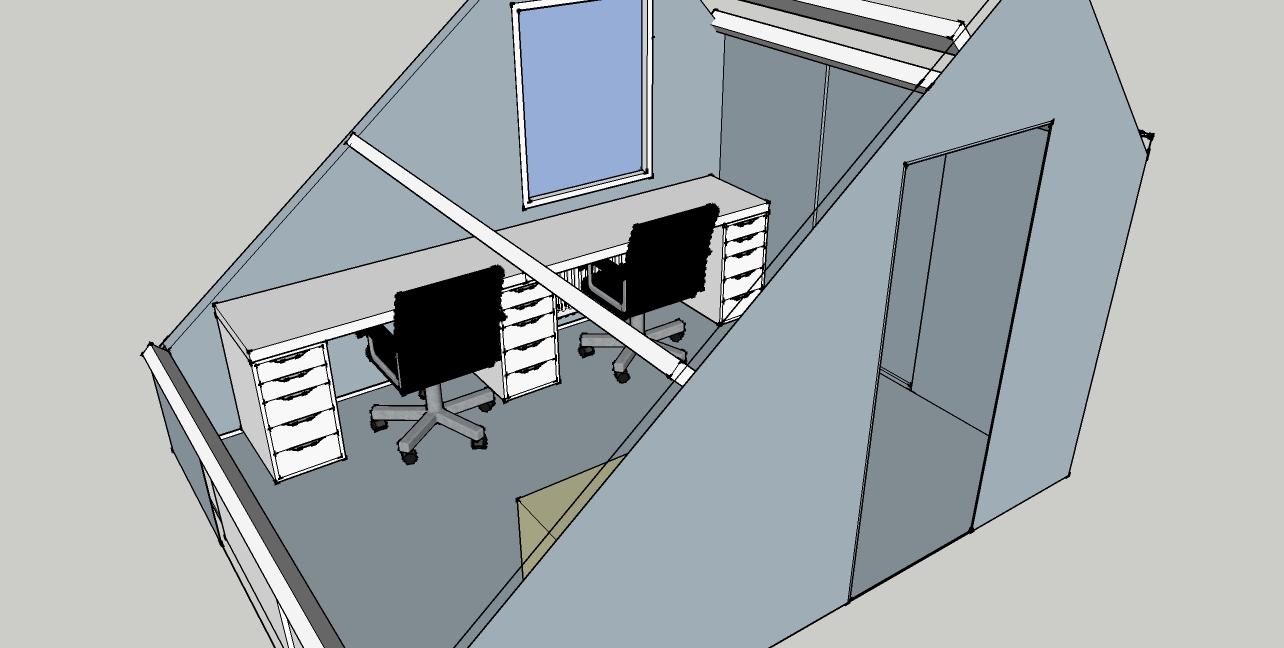 Zolderkamer werkplekken